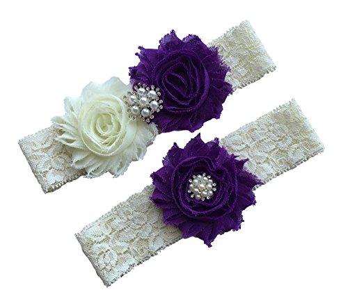 Daddasprincess Wedding Garter Ivory Bridal Lace Garter Set Something Blue Keepsake Toss Away Plus Size Belt Prom (S: 14-18 inches, Purple)