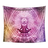 Uphome Hippie Meditation Tapestry, Purple Mandala Chakra Art Print Abstract Wall hanging Wall Fabric Home Decor 60'' H x 80'' W