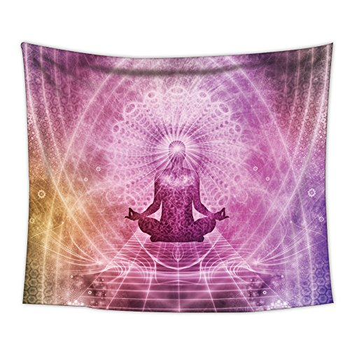 Uphome Hippie Meditation Tapestry, Purple Mandala Chakra Art Print Abstract Wall hanging Wall Fabric Home Decor 60'' H x 80'' W by Uphome