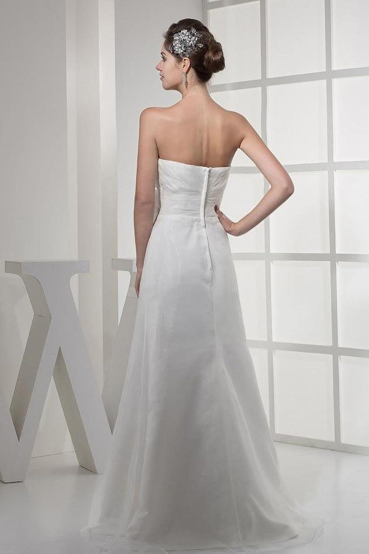 GEORGE BRIDE Simple Strapless Beading Slim Fit Wedding Dress with Handmade Flower