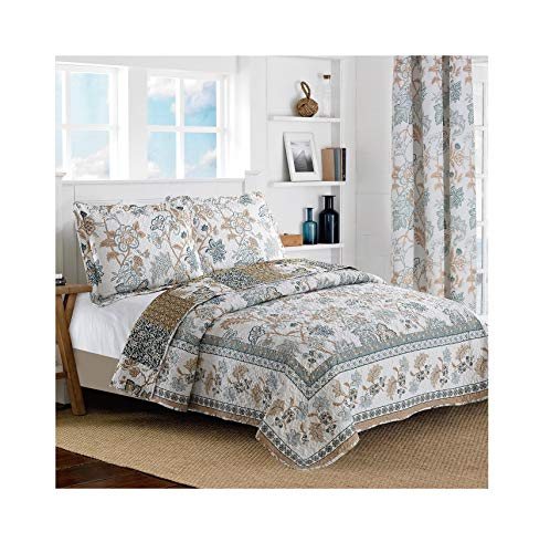 - All American Collection New Reversible 3pc Floral Printed Blue/White Bedspread/Quilt Set (Queen Size)