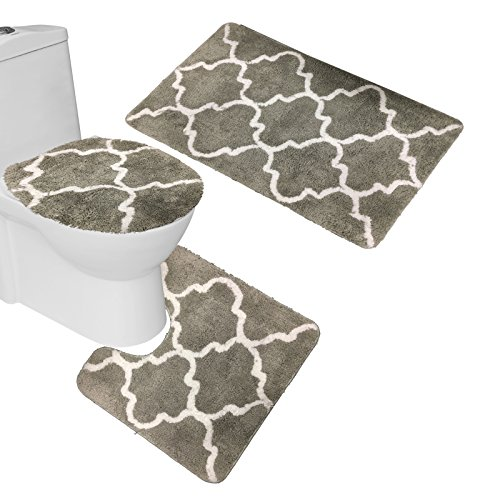 Amagical 3 Piece Ultra Soft Microfiber Bath Mats Set Contemporary Moroccan Lattice Geometric Large Mat 20