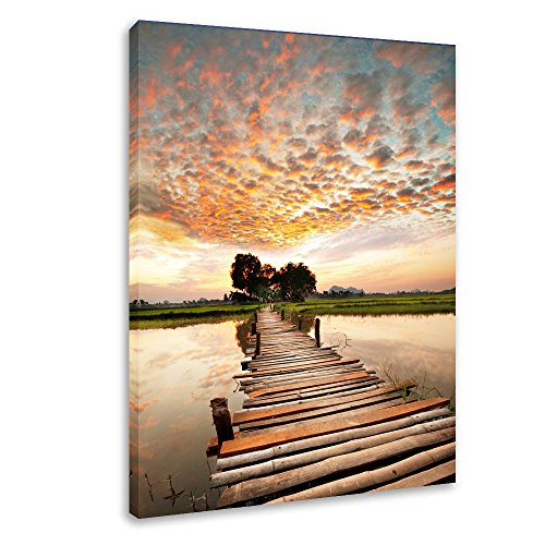 DVQ ART- Pier with Sunset Clouds Wall Art Painting, Beautiful Boardwalk Landscape Print on Canvas, Framed Seascape Print Poster for Living Room Bedroom Decor 1 ()