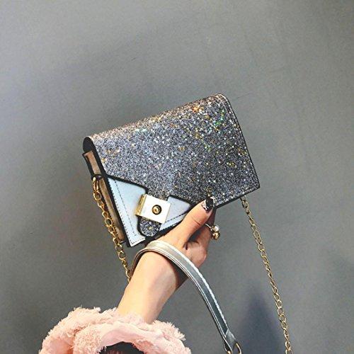 Frauen Mädchen Mode Sterne Pailletten Vorhängeschloss Crossbody Umhängetasche (Brown) Sliver