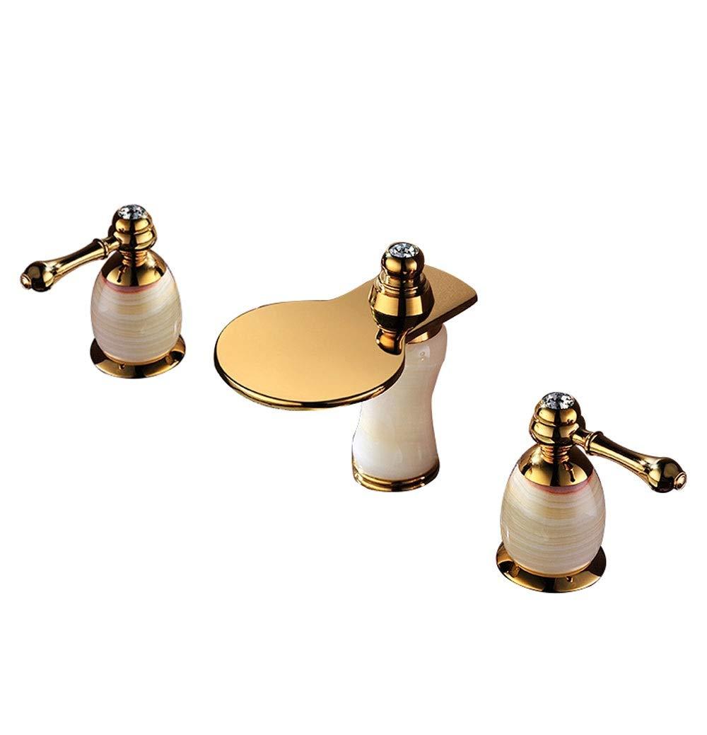 SHUILONG Natural Jade Basin Mixer Faucet Copper Tap European Three-Hole Gold Hot and Cold Bathroom Cabinet Faucet (Design : B)