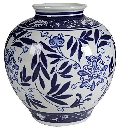 (A&B Home Blue and White Porcelain Vase, 8.5