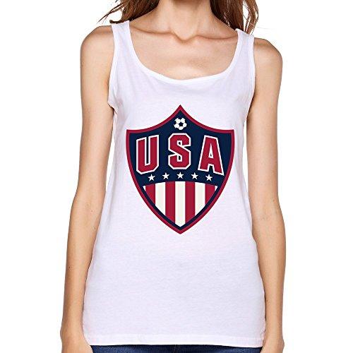 TBTJ Women's USA Team Football Band Logo Tank Top White XX-Large