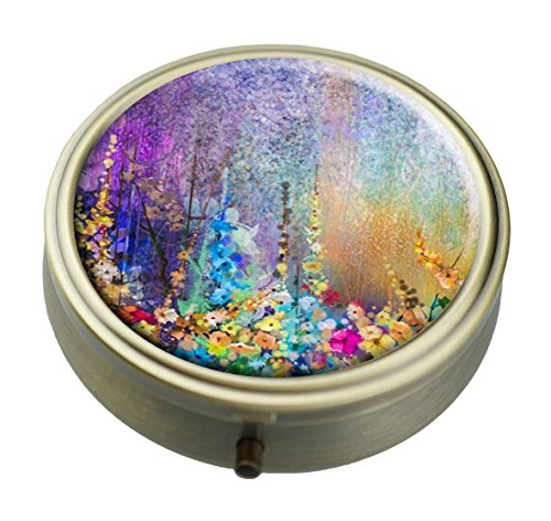 Gold Round Pill Box - Abstract Vintage Floral Watercolor Painting Custom Personalized Bronze Round Pill box Wallet Travel Kit Vitamin Decorative Box Protection Box