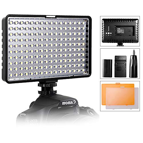 LED Video Light, SAMTIAN Ultra Bright Dimmable Camera Photo Light Panel for Canon Nikon Pentax Panasonic Sony Samsung and Olympus Digital SLR, 950LM, 93CRI+, Rechargeable Battery ()