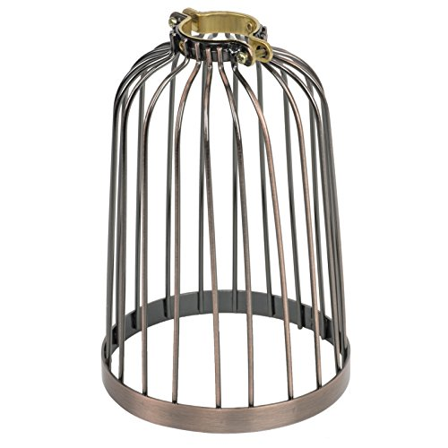 Industrial Vintage Bird Cage Design Style Hanging Pendant Light Fixture Metal Wire Cage , Lamp Guard (Oil Robbed)
