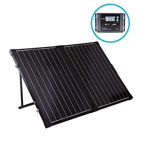 Renogy 100 Watt 12 Volt Monocrystalline Off Grid Portable Foldable 2Pcs 50W Solar Panel Suitcase Built-in Kickstand with Waterproof 20A Charger Controller - Fire Starter Design
