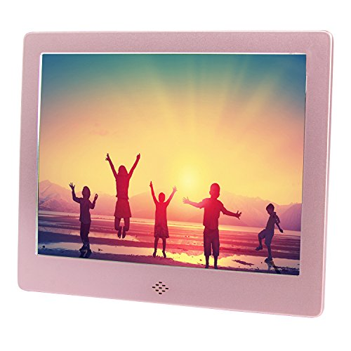 8 Inch Digital Photo Frame Electronic Picture Frame Video/Audio Player LCD Display HighResolution 1024×768 Support USB/SD/MS/MMC/3.5mm Audio Port Metal Frame with Remote Control (Rose Gold)