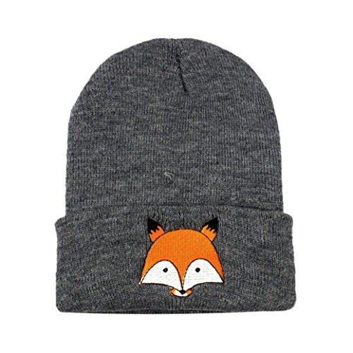(Littleice Newborn Baby Kids Fox Knitted Wool Winter Warm Hats (Dark Gray))
