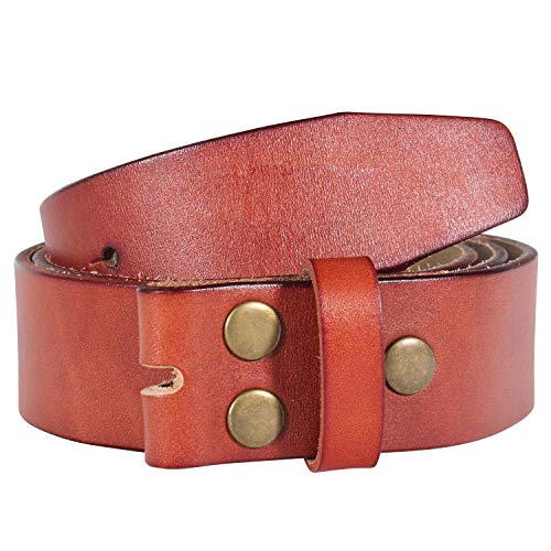 (NPET Men's Genuine Leather Belt Classic Full-Grain Belt without Belt Buckle 1.5