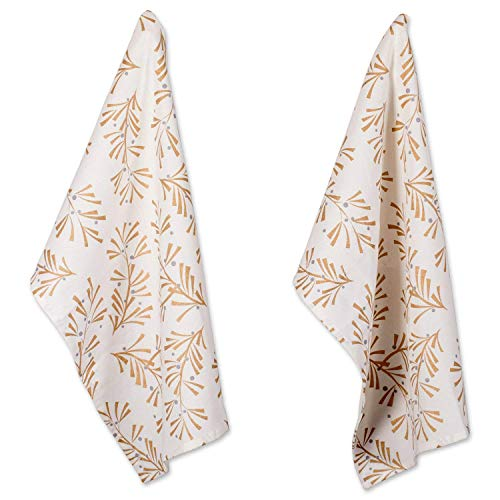 DII Cotton Decorative Christmas Metallic Dish Towel 18 x 28 Set of 2, Oversized Kitchen Dish Towels, Perfect Holiday, Hostee, Housewarming Gift-Metallic Holly Leaves