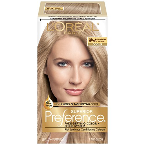 L'Oréal Paris Superior Preference Fade-Defying + Shine Permanent Hair Color, 8.5A Champagne Blonde, 1 kit Hair Dye]()