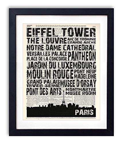 Paris Landmarks Skyline and Typography Dictionary Art Print 8x10