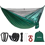 Double Single Camping Hammock with Mosquito Net & Tree Straps, Portable Lightweight Parachute Nylon Hammock for Backpacking Travel Beach Yard Outdoor