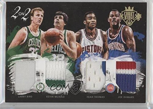 Isiah Thomas Basketball - Larry Bird; Isiah Thomas; Joe Dumars; Kevin McHale #/25 (Basketball Card) 2015-16 Panini Court Kings - 2 on 2 Quad Memorabilia - Prime #9