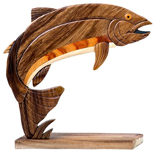 Handcrafted Wooden Rainbow Trout Figure