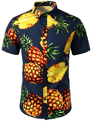 SOWTEE Men's African Style Printed Fashion Casual Short Sleeved T Shirt Large Navy -