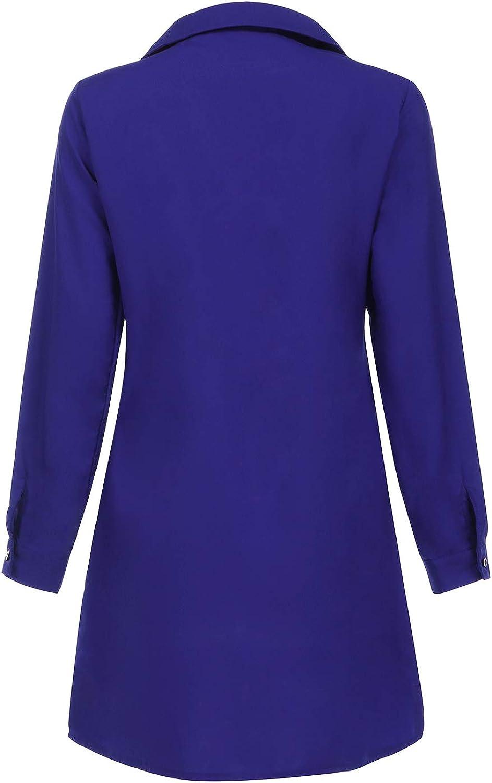 Auxo Damen Karierte Kleider V-Ausschnitt Sommerkleider Langarm Mini Kurz Kleider Oversize Tops Hemd Blusenkleider