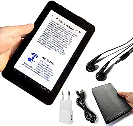 HUAI 7 Pulgadas de Pantalla LCD Lector de Libros electrónicos de visualización WiFi Reproductores Digitales Seguros for el Ojo Inteligente de Alta definición con Multi-Idioma Global Ayuda SD