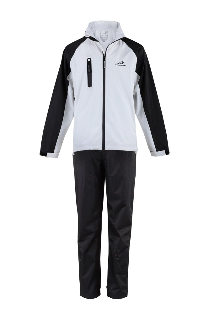 Woodworm Golf V2 Mens Waterproof Jacket and Pants Golf Rainsuit White Small
