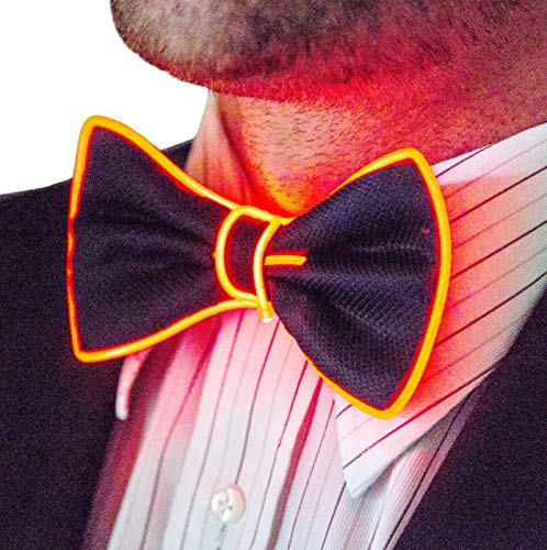Neon Nightlife Light Up Bow Tie for Men, Red