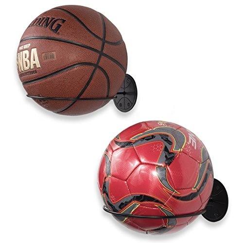 Wallniture Sporta Wall Mount Sports Ball Holder Display Storage Steel Black Set of ()