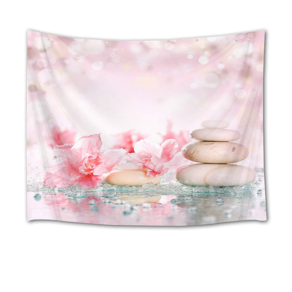HVEST Zen Spa Tapestry,Pink Flowers Tapestry Wall Hanging,Round Massage Stones on Water Wall Blanket for Bedroom,Living Room,Dorm Decor,60 W X 40 H INCH(Dreamlike Scenery)
