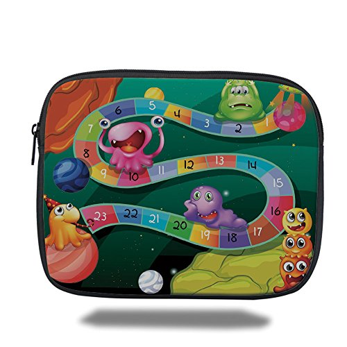 Laptop Sleeve Case,Board Game,Colorful Cartoon Style Cute Aliens with Numbers in Curvy Line Fun Activity Theme Decorative,Multicolor,iPad Bag
