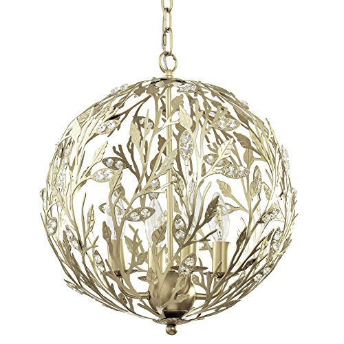 Fluorescent Chain Hung Lamp - Luna Light Fixture - Gold, 15-Inches Diameter, 4-Light, Firefly Kids Lighting