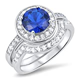 Prime Jewelry Collection Sterling Silver Women's Blue Cubic Zirconia Micro Pave Halo Round Wedding Set Ring (Sizes 5-10) (Ring Size 7)