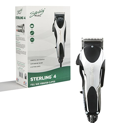Wahl Professional Sterling 4 Clipper #8700 – Great for Professional Stylists and Barbers – V5000 Electromagnetic Motor – (Sterling Silver Hair Brush)