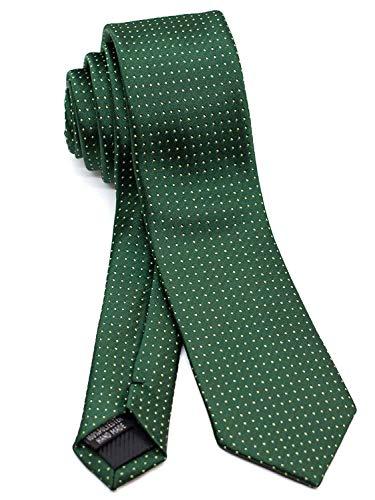 WANDM Men's Slim Skinny Tie Necktie Width 2.4 inches Washable Pin Dot Dark Green ()