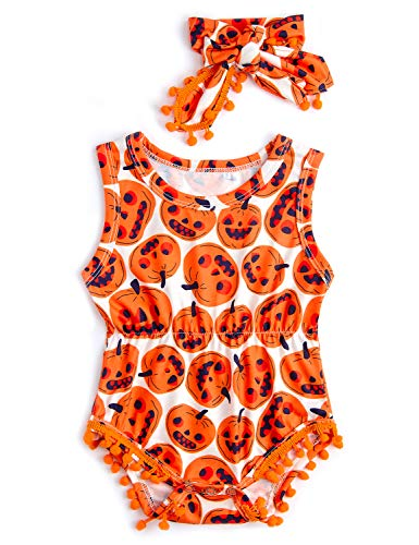 Belovecol Funny Novelty Onesie Halloween Outfits for Baby Infant Pumpkin Graphic Jumpsuit 6-12 M