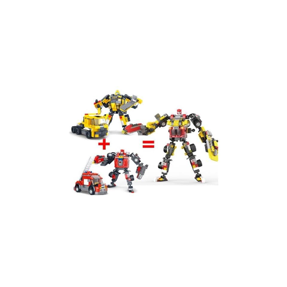 Deformation Soldiers Fire Truck Wheel Warriors Robot Building Blocks Puzzle 357 Piece Set
