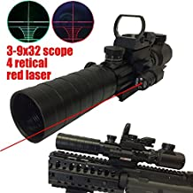 RioRand 3-9x32eg Red&green Reticle Rifle Scope+ Green Dot Sight Tactical Power Scope +Tactical Red Beam Dot Sight+tactical Reflex Holographic Red Green Adjustable Dot Sight