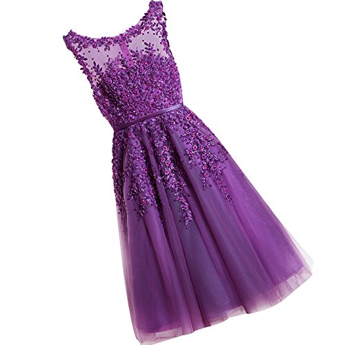 WDING Women Short Evening Dresses Cheap Knee Length Prom Dresses Lace Appliques With Pearls Cocktail Party Gowns Purple,US2 Knee Length Evening Gown