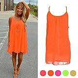 Womens Sleeveless Spaghetti Strap Back Howllow Out Summer Chiffon Beach Short Dress (Orange, S)