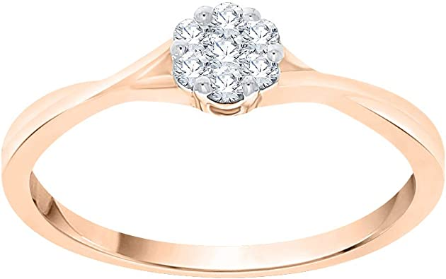 1//10 cttw, 3 Diamond Wedding Band in 10K Pink Gold Size-9.25 G-H,I2-I3