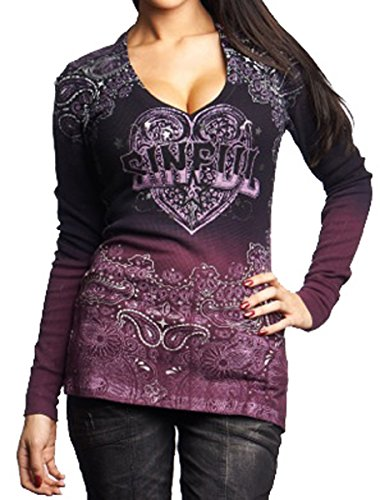 Affliction L/s Tees - Affliction Sinful Women Tee Cowgirl Gun & Rose L/s Vneck in Pink Brush Wash