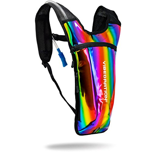 Holographic Rave Water Pack by Vibedration | 2L Water Capacity | Rave Fashion, Music Festival Gear, Hydration Pack - Holla Clothing
