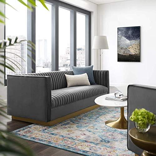 Modway Sanguine Vintage Glamour Channel Tufted Performance Velvet Upholstered Sofa - a good cheap living room sofa