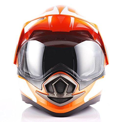 Dual Sport Helmet Motorcycle Full Face Motocross Off Road Bike Racing Orange White by 1Storm (Image #4)