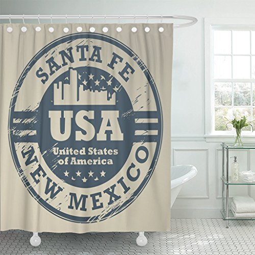 Santa Fe Shower Curtain Hooks - TOMPOP Shower Curtain Vintage Grunge Rubber Stamp with Name of New Mexico Santa Fe Map Waterproof Polyester Fabric 72 x 78 Inches Set with Hooks