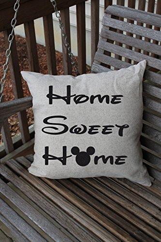 (Disney Cushion Pillow Case Cover Cover Home Sweet Home Mickey Cushion Disney Pillow Case Cover Disney Decor Disney Nursery 18 x 18 cushion )