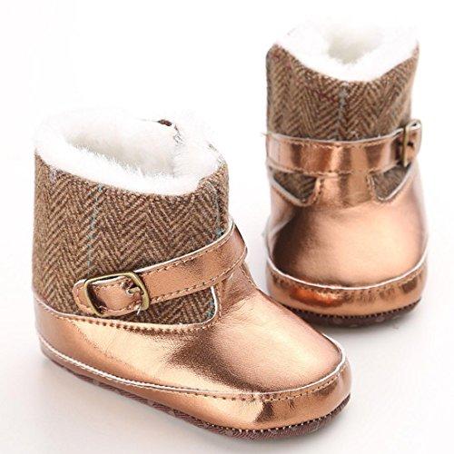 Hunpta Babyschuhe Mädchen Jungen Lauflernschuhe Kleinkind Kleinkind Mädchen Gold Schnee Stiefel weiche Sohle Prewalker Krippe Babyschuhe (13)