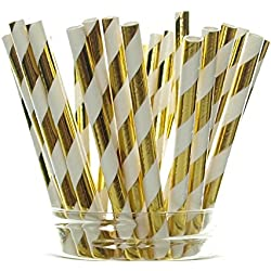 Gold Shiny Foil Straws (25 Pack) - Striped Christmas Straws, Tinsel Paper Straws for 50th Golden Anniversary, Holiday Party Supplies, Gold Wedding Decorations